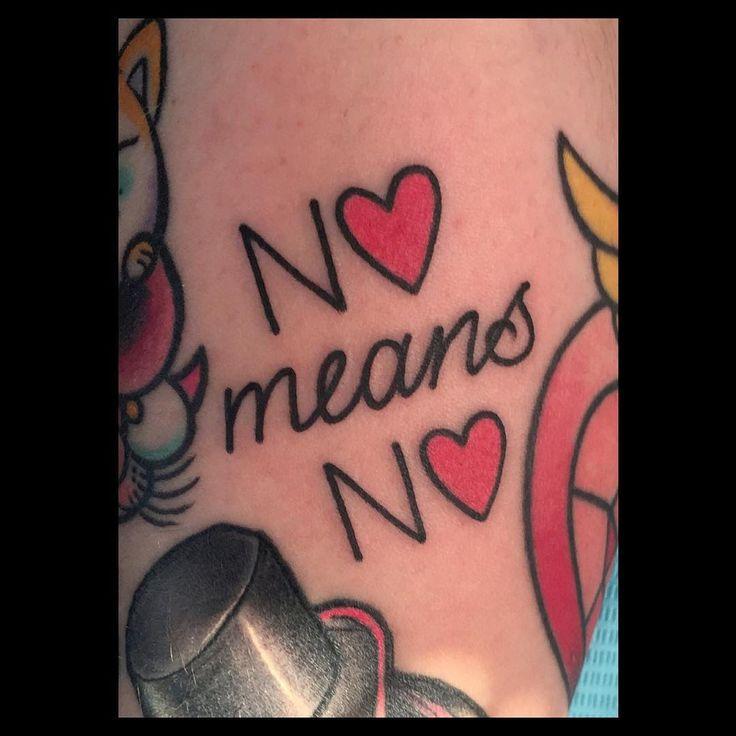 "Ashley Love, ""no means no"" tattoo."