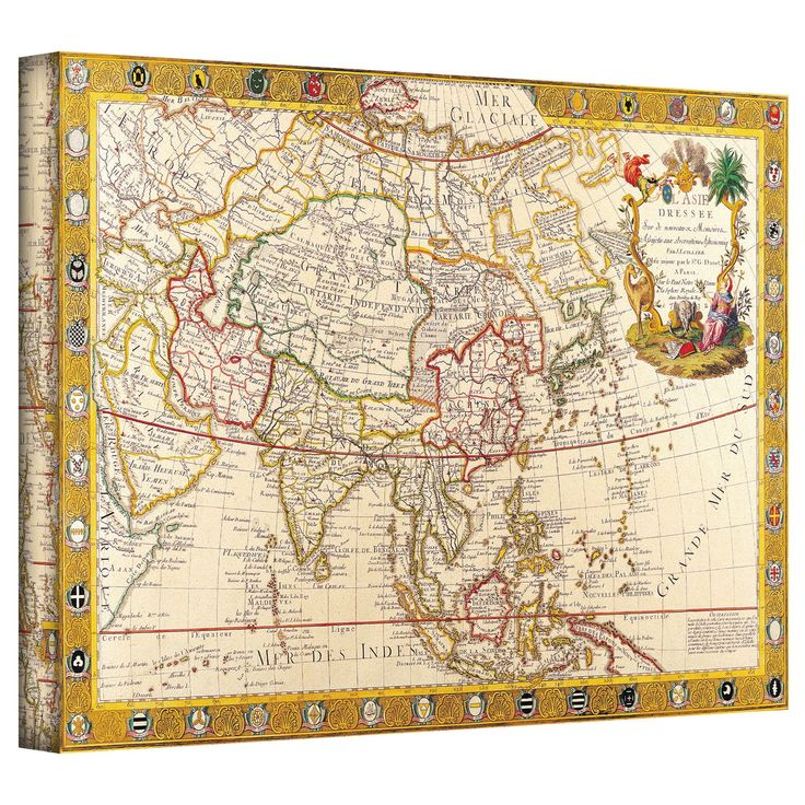 Cool Antique Maps uMap of Asia u by Guillaume Danet Graphic Art Canvas