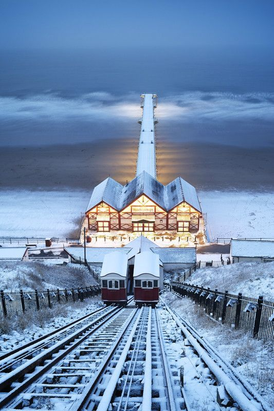 Saltburn Cliff Lift in the Snow, Saltburn-by-the-Sea, North Yorkshire, England   Dennis Bromage Photography