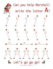 Life As A Moore...: Paw Patrol To The Rescue! Letter worksheets. Have to go through blog to get more letters.