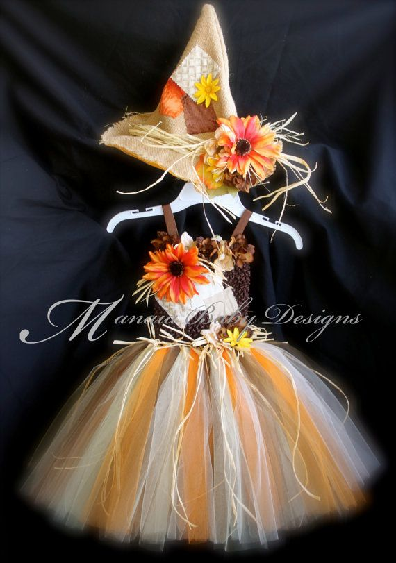 Halloween Scarecrow Tutu Dress WITH Hat by ManaiaBabyDesigns, $92.00