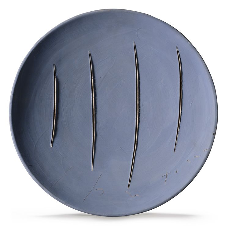 Lucio Fontana 1899 - 1968 CONCETTO SPAZIALE SIGNED, TERRACOTTA. EXECUTED IN 1960