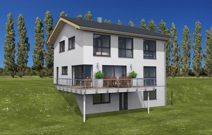 Dieses Einfamilienhaus Mit Einer Wohnflache Von Ca 177 M Ohne Keller Hat Eine Junge Familie Direkt Neben Ihrem Elternha Einfamilienhaus Haus Hanglage Baustil