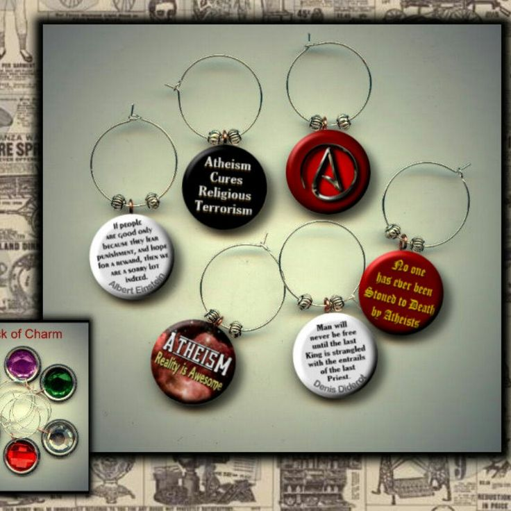 Athiest Atheism wine charm set by Yesware11 on Etsy!