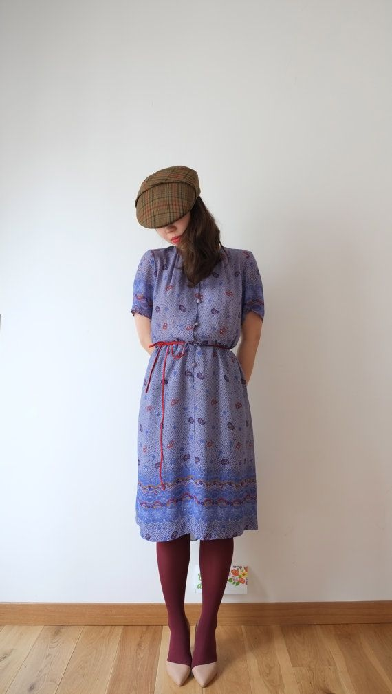 Light indigo paisley vintage dress M  L Japan by kamomeya on Etsy, €72.00