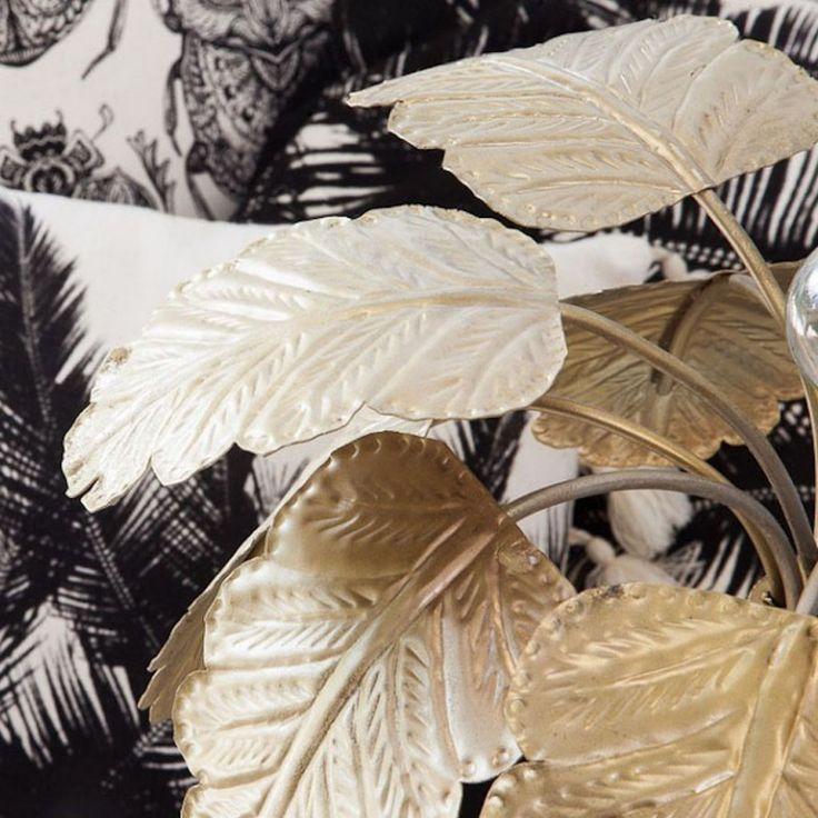 gold palm tree lamp detail