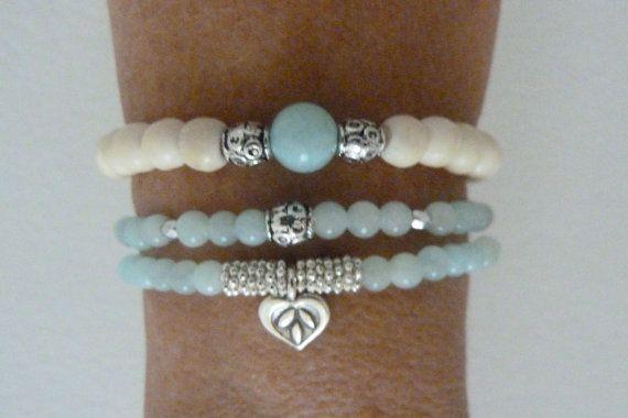 beach mermaid ivory bone beads aqua jade by beachcomberhome, $16.00