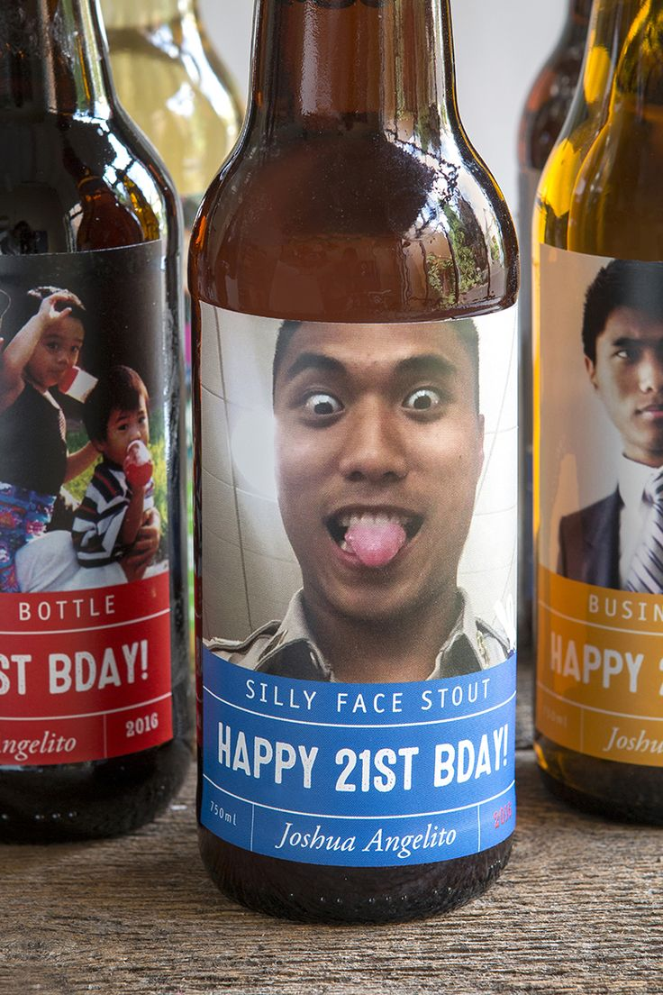 Custom 21st birthday beer labels - Just upload your own photo and customize the words!  Personalized funny party favors, clever 21st birthday gift,
