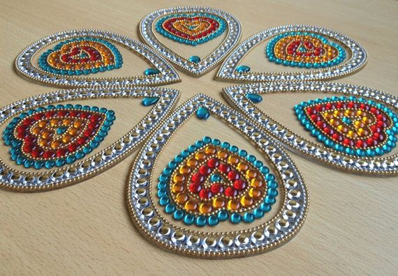 Hearts for Valentine Dinner - Big Rangoli in red, orange and blue colors - 7 piece set