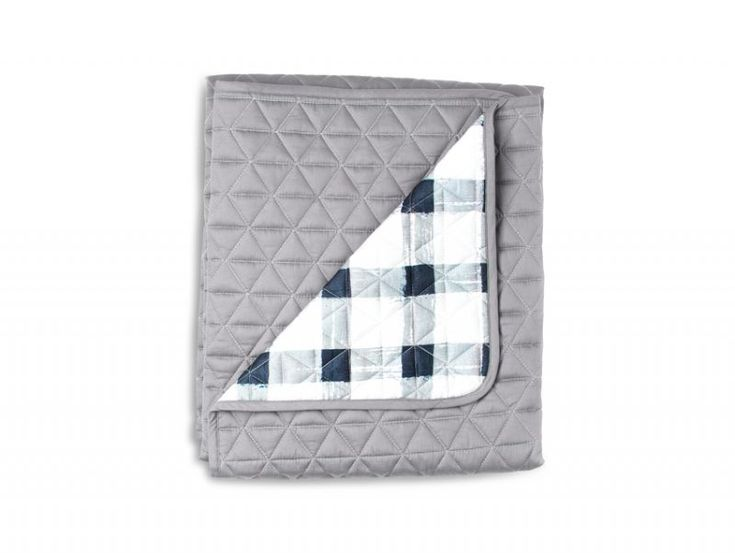 Grey Gingham Quilted Coverlet | Sack Me
