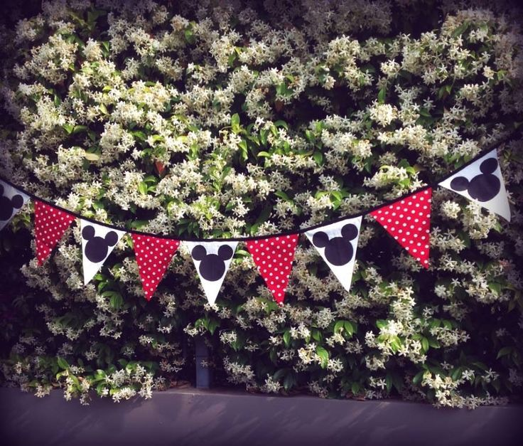 Fabric banner Minnie Mouse red black