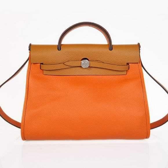 H9051 2012 New Hermes HerBag 31CM Togo leather Bag 9051 Orange C