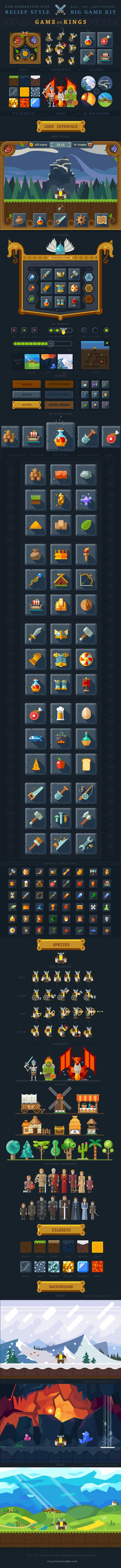A viking-inspired interface for a side-scroller game, showing inventory, sprites, some levels, items in the game, etc.