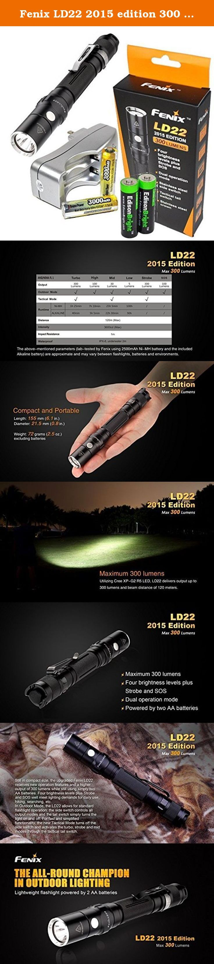 Fenix LD22 2015 edition 300 Lumen XP-G2 R5 LED tactical Flashlight with two NiMH rechargeable AA Batteries, Charger & Two EdisonBright AA Alkaline batteries. Operation: Hold side button for 3 seconds to change Outdoor mode and vice versa Outdoor Mode Turbo: 300 Lumens High: 100 Lumens Mid: 30 Lumens Low: 5 Lumens Strobe: 300 Lumens SOS: 100 Lumens Tactical Mode Turbo: 300 Lumens Mid: 30 Lumens Strobe: 300 Lumens Features ·Uses Cree XP-G2 R5 LED with a lifespan of 50,000 hours ·Powered by…