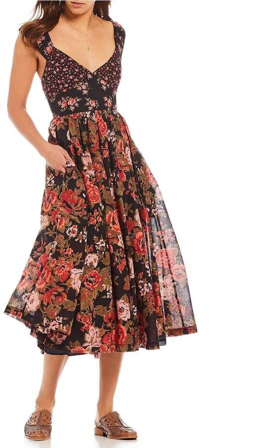 5eeba8e435 Free People Love You Floral Print Midi Dress
