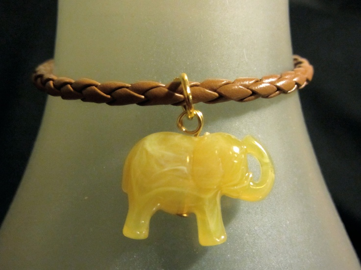 Brown beige elephant bracelet