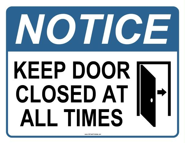 graphic regarding Keep Door Closed Sign Printable titled No cost Printable Attention Maintain Doorway Shut At All Instances Indicator