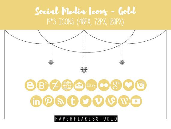 Social Media Icons Set  Gold by paperflakesstudio on Etsy