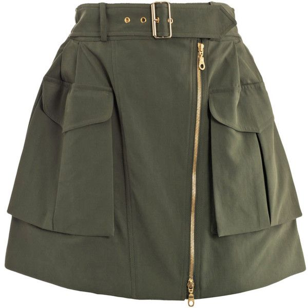 Kenzo Peached twill military skirt (€215) ❤ liked on Polyvore featuring skirts, mini skirts, bottoms, saias, faldas, high waisted skirts, belted mini skirt, a line mini skirt, short a line skirt and a line skirt