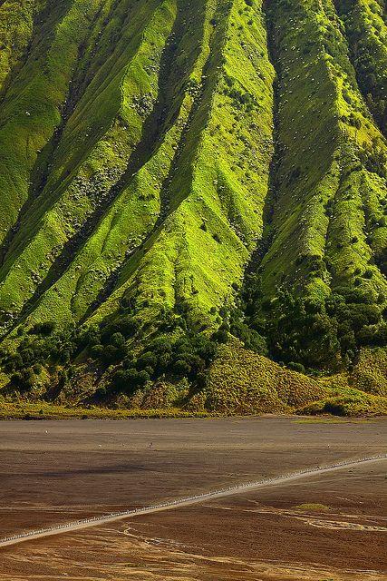 The Lines, Mt. Batok and Tengger Sand Sea,  Bromo-Tengger-Semeru National Park, East Java, Indonesia.