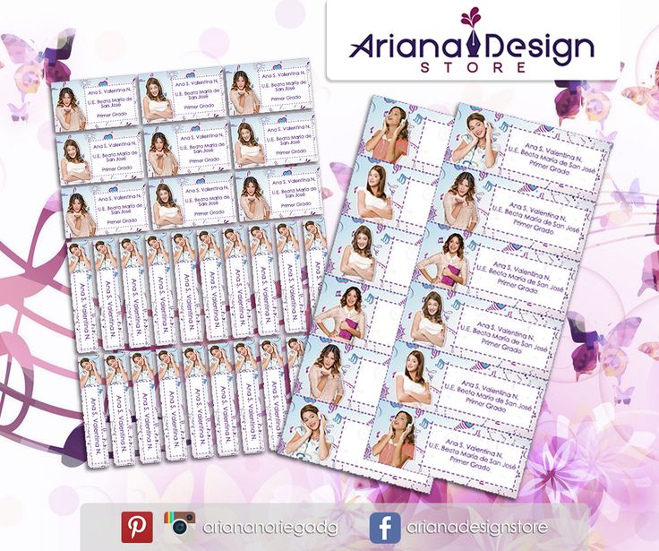 Kit Imprimible de #etiquetas personalizadas con el motivo #Violetta. | 3 tamaños: 9 x 3,5 cm, 5 x 1 cm y 5 x 3 cm. |   Personalized and printable #labels pack - #Violetta.  | 3 sizes: 9 x 3,5 cm, 5 x 1 cm and 5 x 3 cm. |   Tienda/Shop: https://www.etsy.com/es/shop/ArianaDesignStore