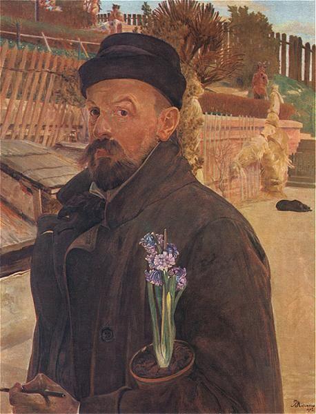 Autorretrato con jacintos, de Jacek Malczewski