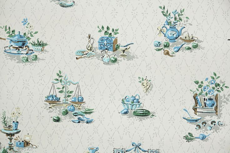 1960's Vintage Kitchen Wallpaper Aqua Gray and Blue Mid-Century Novelty