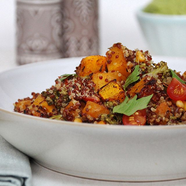 Roasted Squash and Pine Nut Quinoa This is one of my favourite autumn dishes. It's really so delicious and so easy to make. Butternut squash is so incredible over the winter too and taste incredible cut into little cubes and baked with paprika and herbs until soft and tender, before being mixed with toasted pine nuts, fluffy quinoa, long-stemmed broccoli, fresh coriander leaves, juicy cherry tomatoes and a little tangy apple cider vinegar. I love this served with my avocado cream…