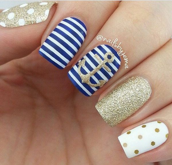 Navy stripes with golden polka dots