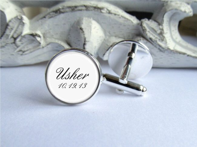 Wedding Cufflinks, Usher Cufflinks, Personalized Cufflinks With Date by AllAboutYouCreations on Etsy https://www.etsy.com/listing/162297195/wedding-cufflinks-usher-cufflinks
