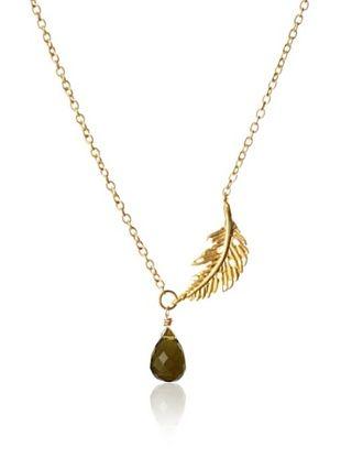 Diane Yang Designs Olive Quartz Side Leaf Necklace