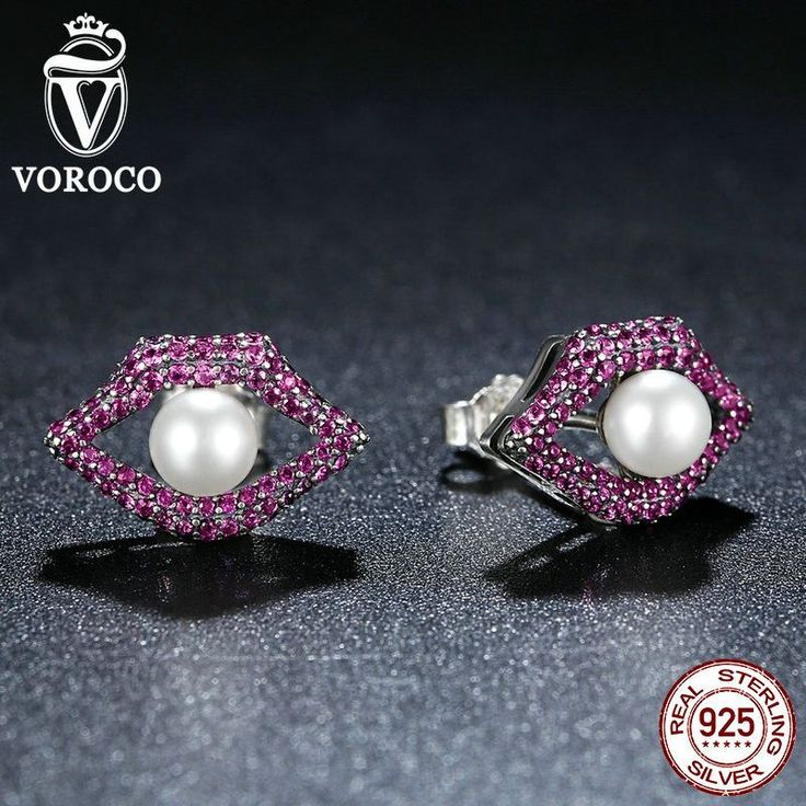 Real 925 Sterling Silver Sexy Mouth Red Lips Stud Earrings With Shell Pearl For Women Fashion Jewelry E034