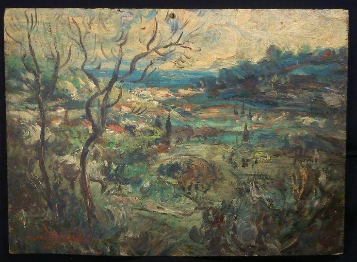 PIERRE PASCALET année 1949 Postimpressionniste Ancienne HUILE SUR BOIS VAR (8F)