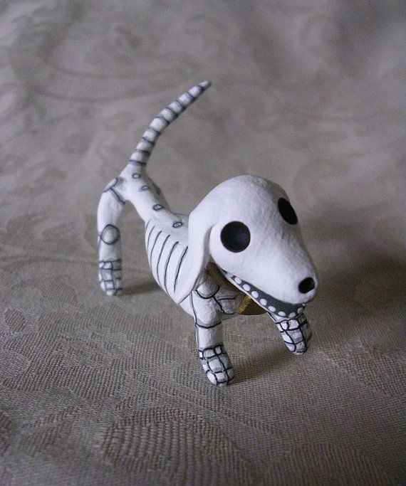 Day of the Dead Dachshund Skeleton Weenie Dog by Claylindo on Etsy, $32.99