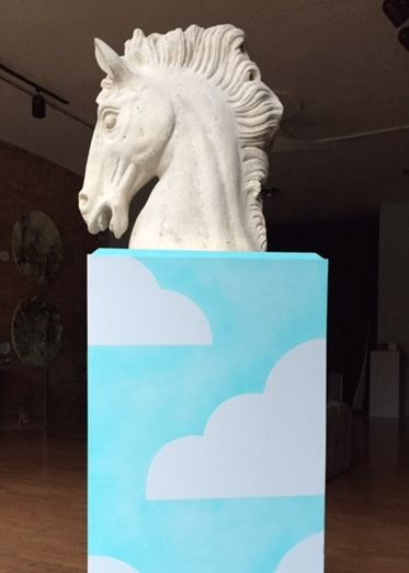 "Horse head sculpture on Cloud Podium by Andrey Kozakov 40""x15""x15"" $225"