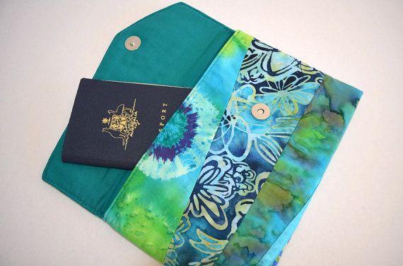 Teal wallet blue green clutch batik purse by RobynFayeDesigns