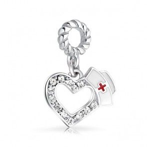 Sterling Silver Crystal Nurse Love Charm Pandora Compatible Bead - for Cassie...