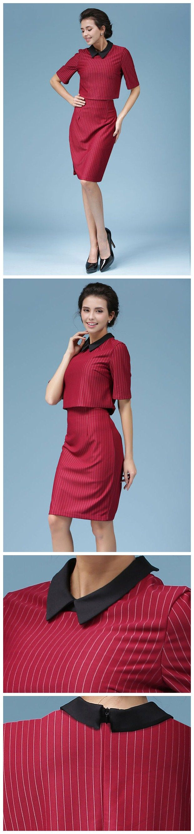 High-end OL Style Wine Red Striped Print Slim Wear Women Suit