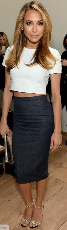 Who made Naya Rivera's cropped white top and gray skirt that she wore in New York on February 12, 2013?