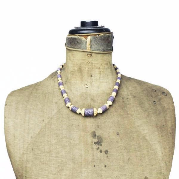 Art Deco Purple Czech Molded Glass Bead Necklace