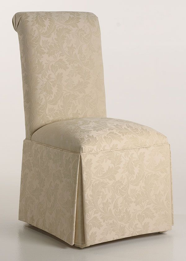 Scroll Back Parson Chair with Kick-Pleat Skirt from Carrington Court Direct.