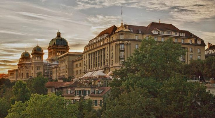 Hotel Bellevue Palace Bern Bern This traditional 5-star hotel occupies an elegant Art Nouveau building dating from 1913, located in the heart of Bern next to the Federal Parliament. The Bellevue Palace includes a gourmet restaurant, a sauna, and a fitness centre.