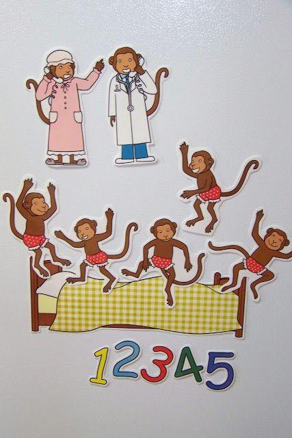 Doodle Bugs Teaching {first grade rocks!}: Five Little Monkeys Magnetic Storytelling Props