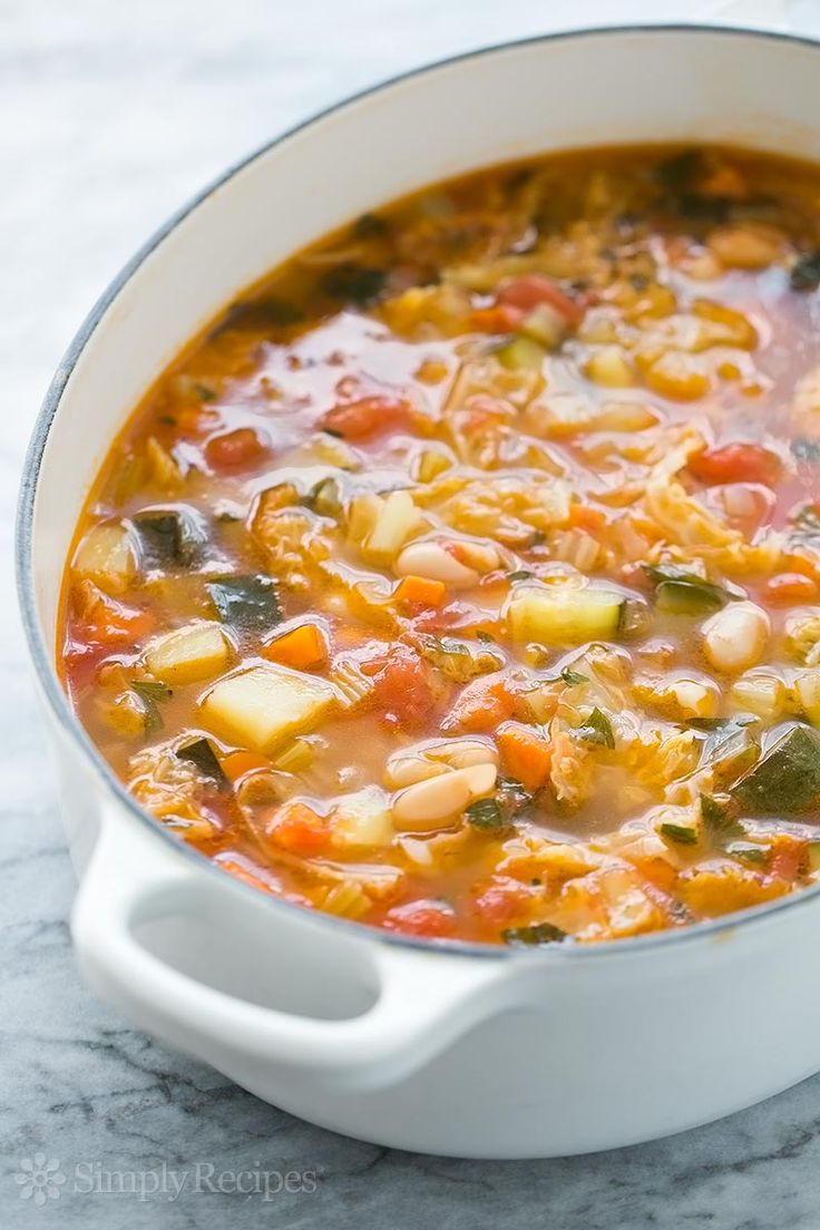 Make a hearty Minestrone soup! with cannellini beans, chicken stock, cabbage, potato, zucchini, carrots, plum tomatoes, and Parmesan cheese.