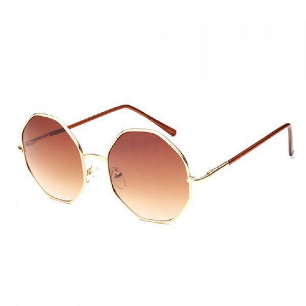 Chic Golden Polygonal Frame Sunglasses For Women