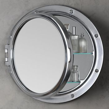 for upstairs half bath restoration hardware royal naval porthole mirrored medicine cabinet