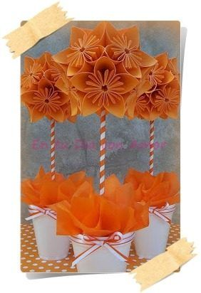 Topiario Centro De Mesa Origami! Cumpleaños Comunión 15 Etc