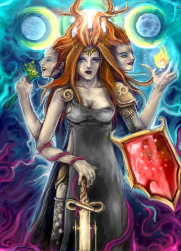"""Triple Goddess Brigid"" by Dugvayne on deviantART An interesting take on her three aspects (cited in Sanas Cormaic)– sword and shield for the metal-worker, flame for the poet, herbs for the healer."