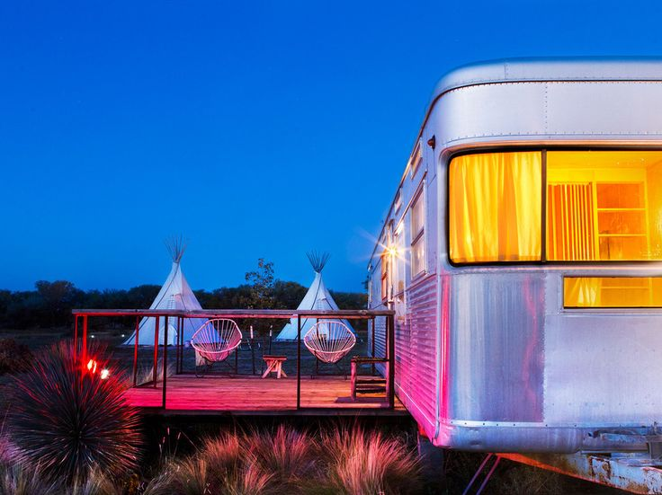 Marfa, TexasVintage trailers, yurts, safari tents, teepees, or tents—you'll find it all at these Texan camping grounds. Marfa has been taking the world by storm as the unexpected artsy-hipster destination du jour, and there simply is no better place to experience it all than El Cosmico. If you're taken aback by the lack of private bathrooms (there's a communal bath house with showers, toilets, and sinks), remember that you can also rent a wood-fired hot tub and bathe underneath the starry…