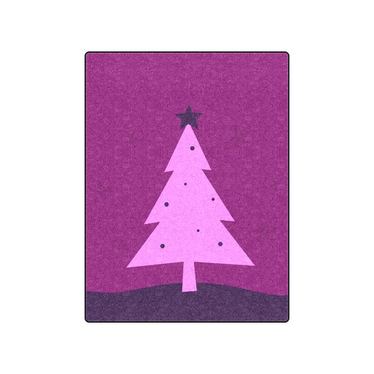 "Vintage blanket with hand-drawn Xmas tree / Purple edition for bedroom Blanket 50""x60""."